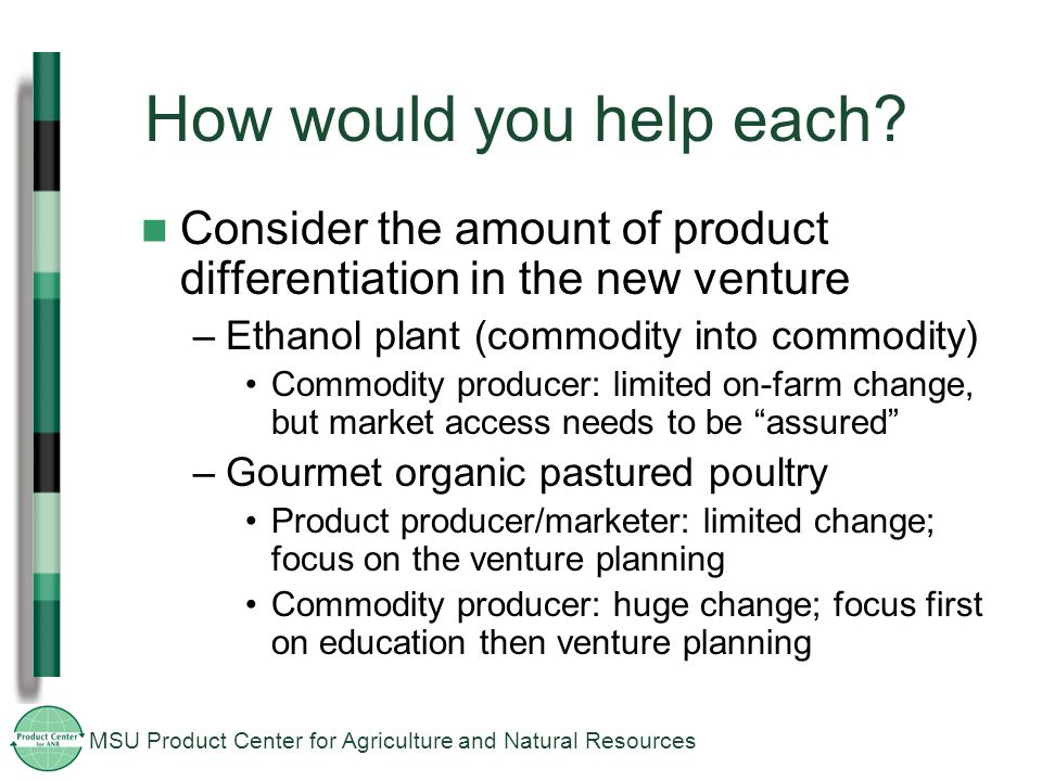 MSU Product Center for Agriculture and Natural Resources How would you help each.