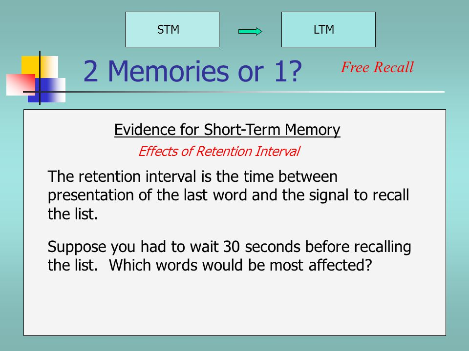 STMLTM Evidence for Short-Term Memory Free Recall 2 Memories or 1.