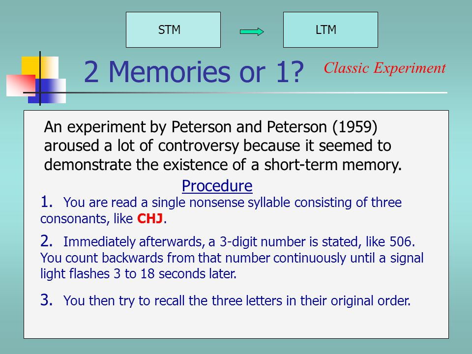 2 Memories or 1. STMLTM Single-store theorists say that we have only one memory.