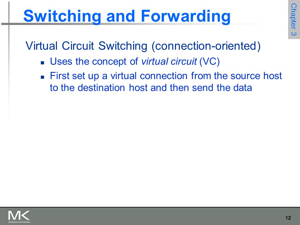 12 Chapter 3 Switching and Forwarding Virtual Circuit Switching (connection-oriented) Uses the concept of virtual circuit (VC) First set up a virtual