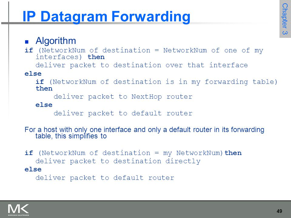 49 Chapter 3 IP Datagram Forwarding Algorithm if (NetworkNum of destination = NetworkNum of one of my interfaces) then deliver packet to destination o