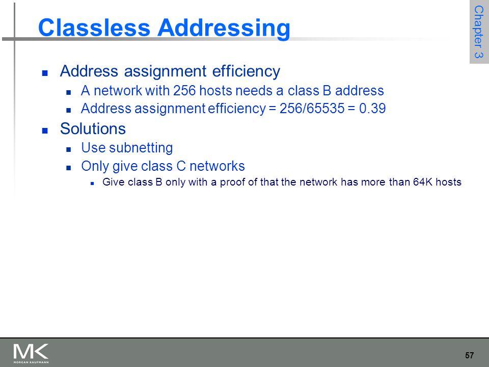57 Chapter 3 Classless Addressing Address assignment efficiency A network with 256 hosts needs a class B address Address assignment efficiency = 256/6