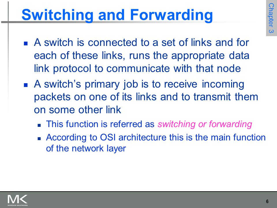 6 Chapter 3 Switching and Forwarding A switch is connected to a set of links and for each of these links, runs the appropriate data link protocol to c