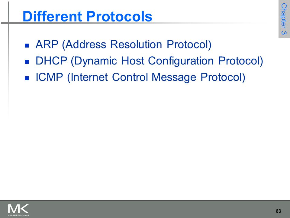 63 Chapter 3 Different Protocols ARP (Address Resolution Protocol) DHCP (Dynamic Host Configuration Protocol) ICMP (Internet Control Message Protocol)
