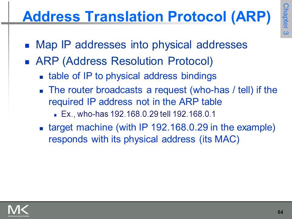 64 Chapter 3 Address Translation Protocol (ARP) Map IP addresses into physical addresses ARP (Address Resolution Protocol) table of IP to physical add