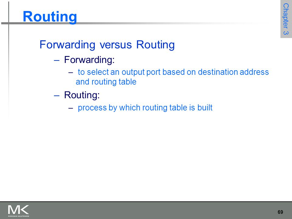 69 Chapter 3 Routing Forwarding versus Routing – Forwarding: – to select an output port based on destination address and routing table – Routing: – pr