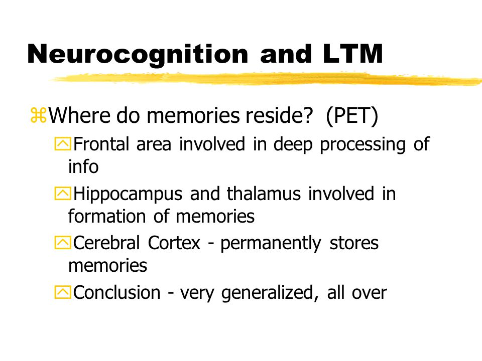Neurocognition and LTM zWhere do memories reside.