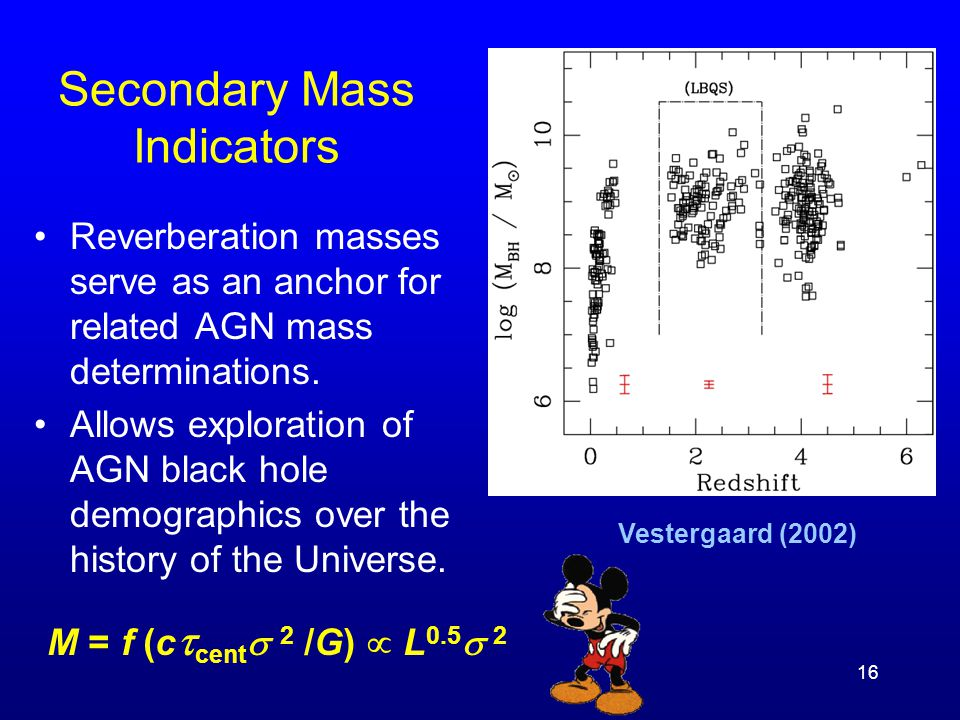16 Secondary Mass Indicators Reverberation masses serve as an anchor for related AGN mass determinations. Allows exploration of AGN black hole demogra