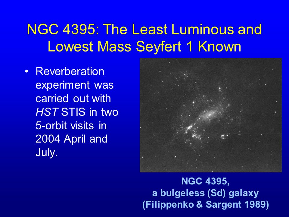 NGC 4395: The Least Luminous and Lowest Mass Seyfert 1 Known Reverberation experiment was carried out with HST STIS in two 5-orbit visits in 2004 Apri