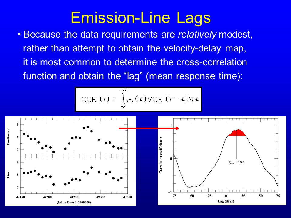 Emission-Line Lags Because the data requirements are relatively modest, rather than attempt to obtain the velocity-delay map, it is most common to det