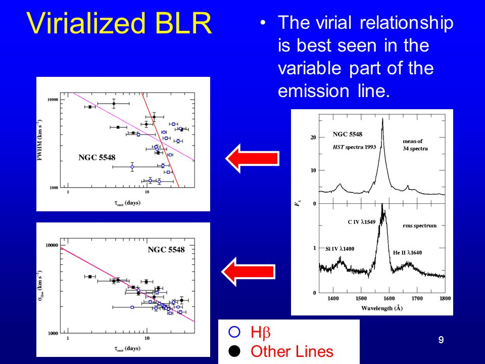 9 Virialized BLR The virial relationship is best seen in the variable part of the emission line.  H   Other Lines