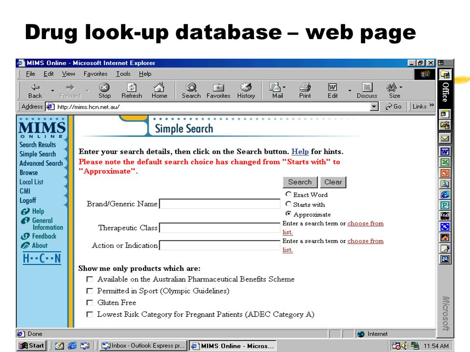 Drug look-up database – web page