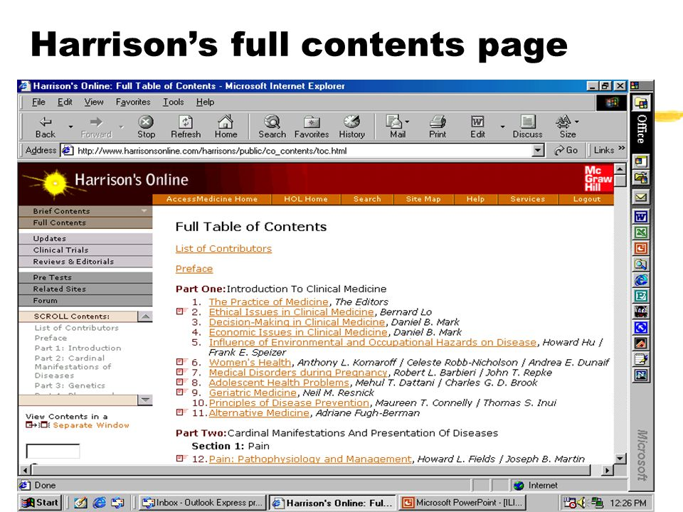 Harrison's full contents page