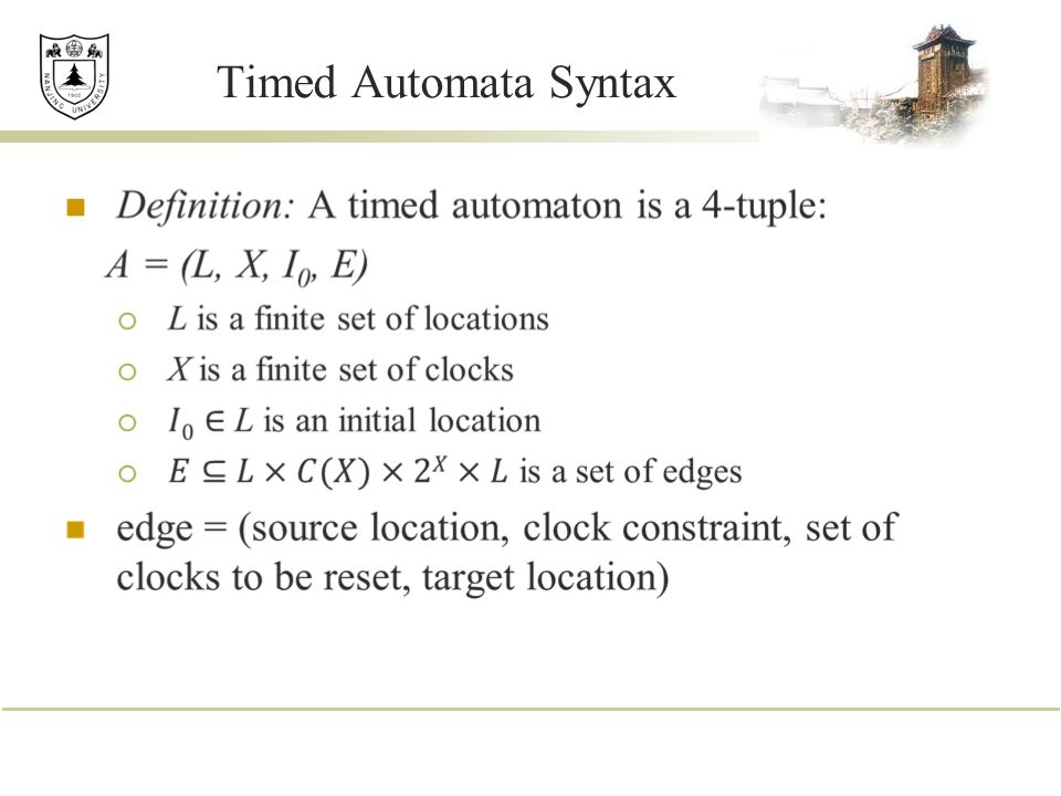 Timed Automata Syntax