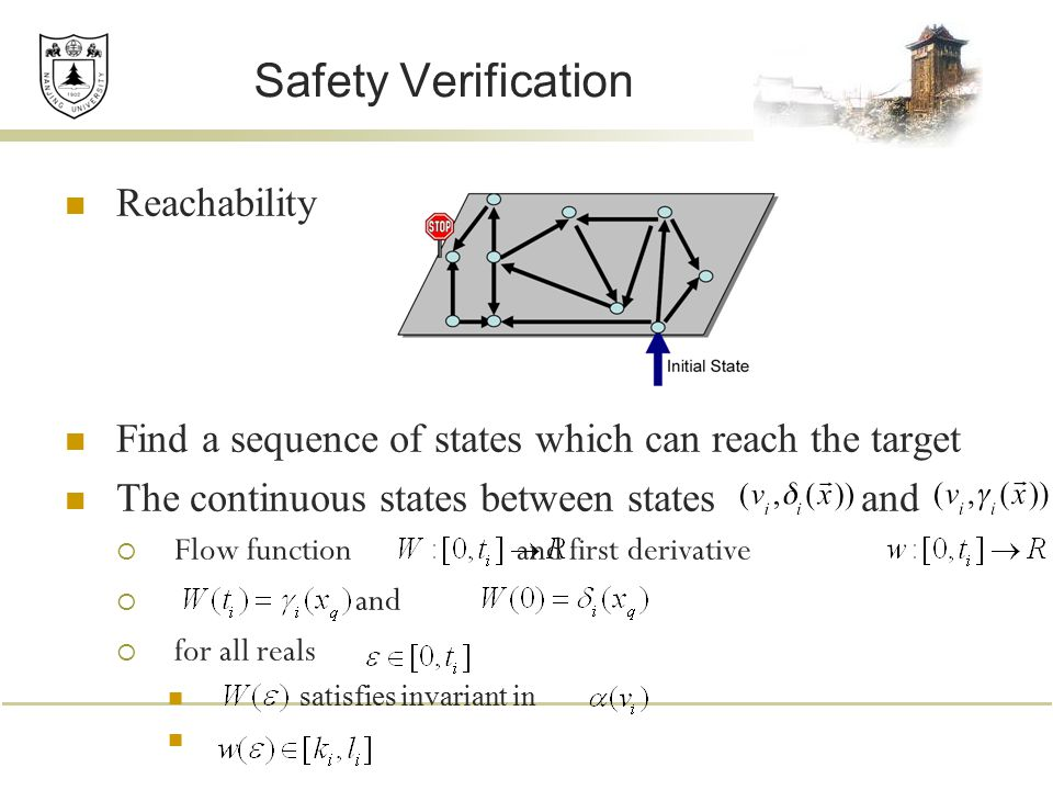 Safety Verification Reachability Find a sequence of states which can reach the target The continuous states between states and  Flow function and fir