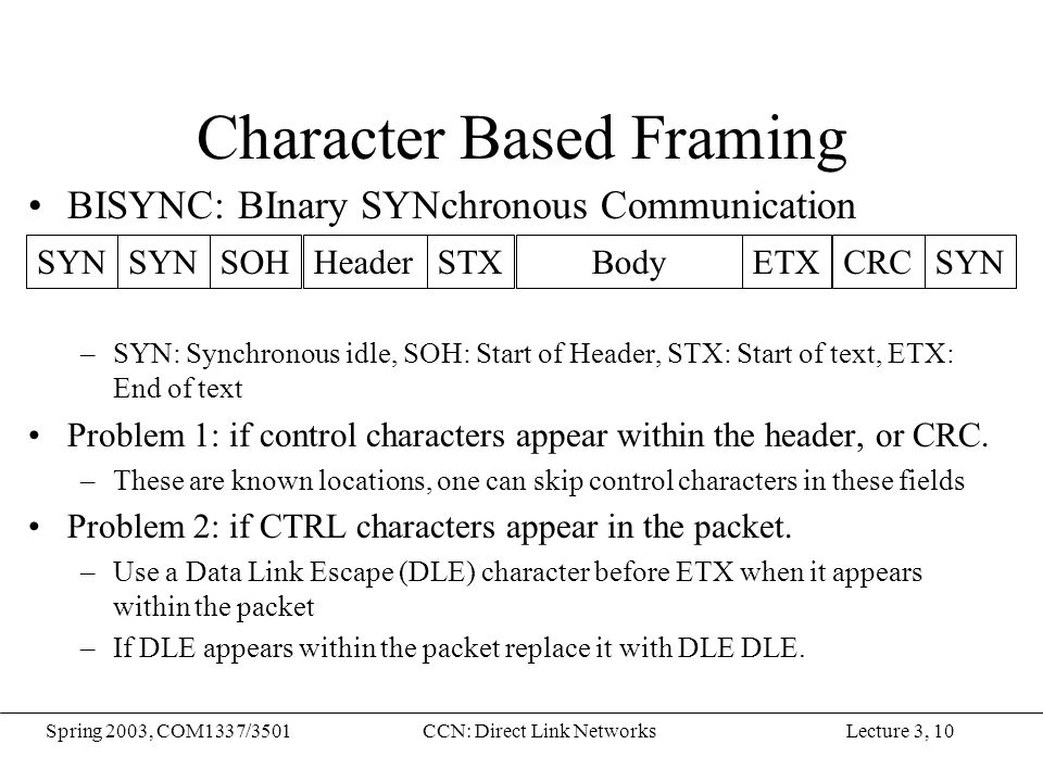 Lecture 3, 10Spring 2003, COM1337/3501CCN: Direct Link Networks Character Based Framing BISYNC: BInary SYNchronous Communication –SYN: Synchronous idl