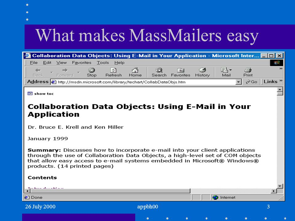 26 July 2000appbh003 What makes MassMailers easy
