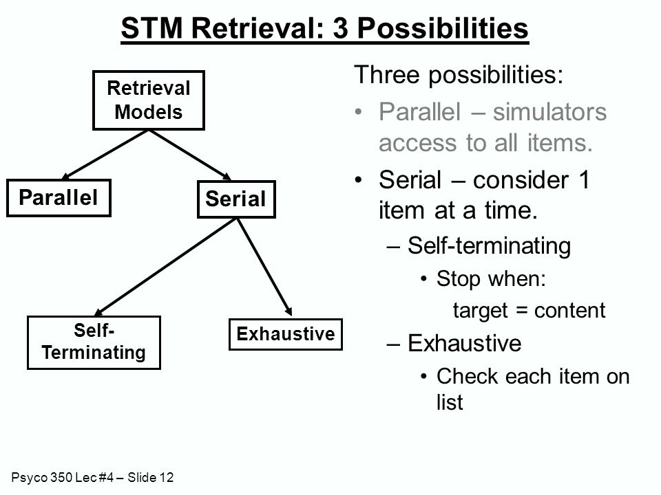 Psyco 350 Lec #4 – Slide 12 STM Retrieval: 3 Possibilities Three possibilities: Parallel – simulators access to all items. Serial – consider 1 item at