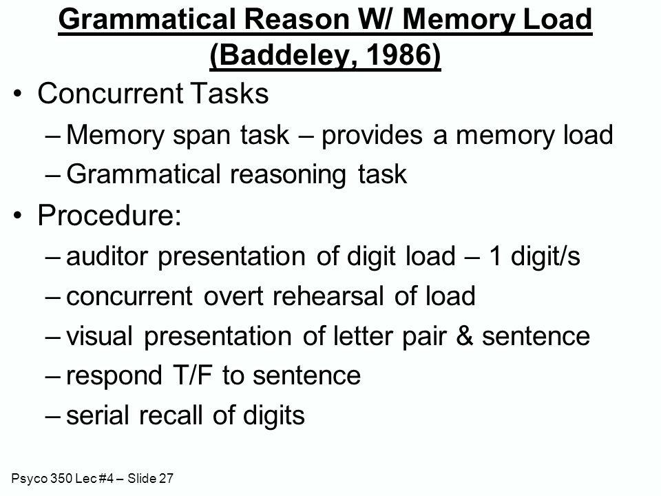 Psyco 350 Lec #4 – Slide 27 Grammatical Reason W/ Memory Load (Baddeley, 1986) Concurrent Tasks –Memory span task – provides a memory load –Grammatica