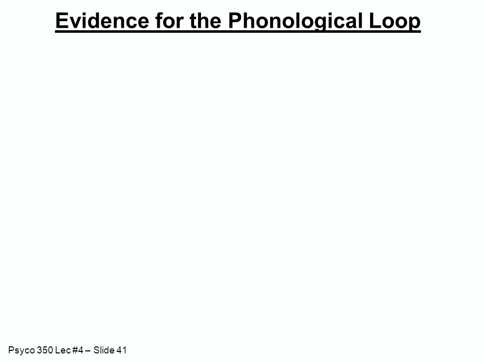 Psyco 350 Lec #4 – Slide 41 Evidence for the Phonological Loop