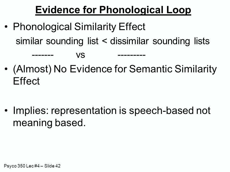 Psyco 350 Lec #4 – Slide 42 Evidence for Phonological Loop Phonological Similarity Effect similar sounding list < dissimilar sounding lists ------- vs