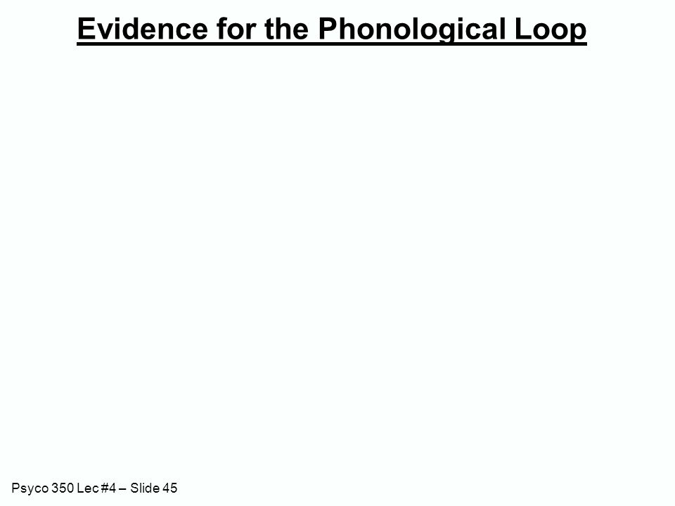 Psyco 350 Lec #4 – Slide 45 Evidence for the Phonological Loop