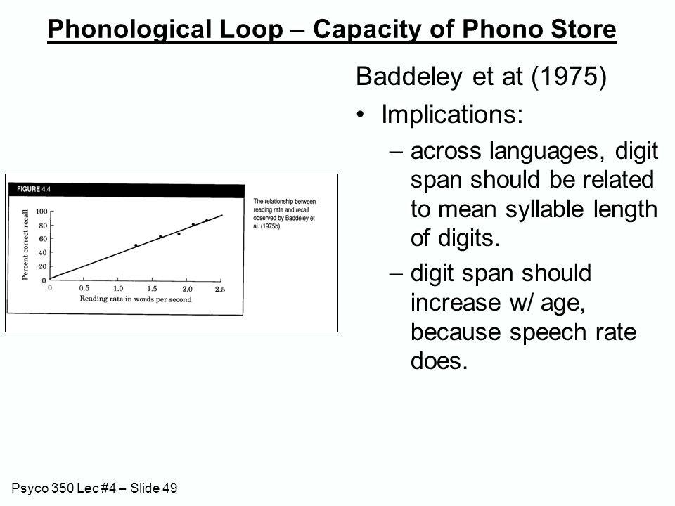 Psyco 350 Lec #4 – Slide 49 Phonological Loop – Capacity of Phono Store Baddeley et at (1975) Implications: –across languages, digit span should be re