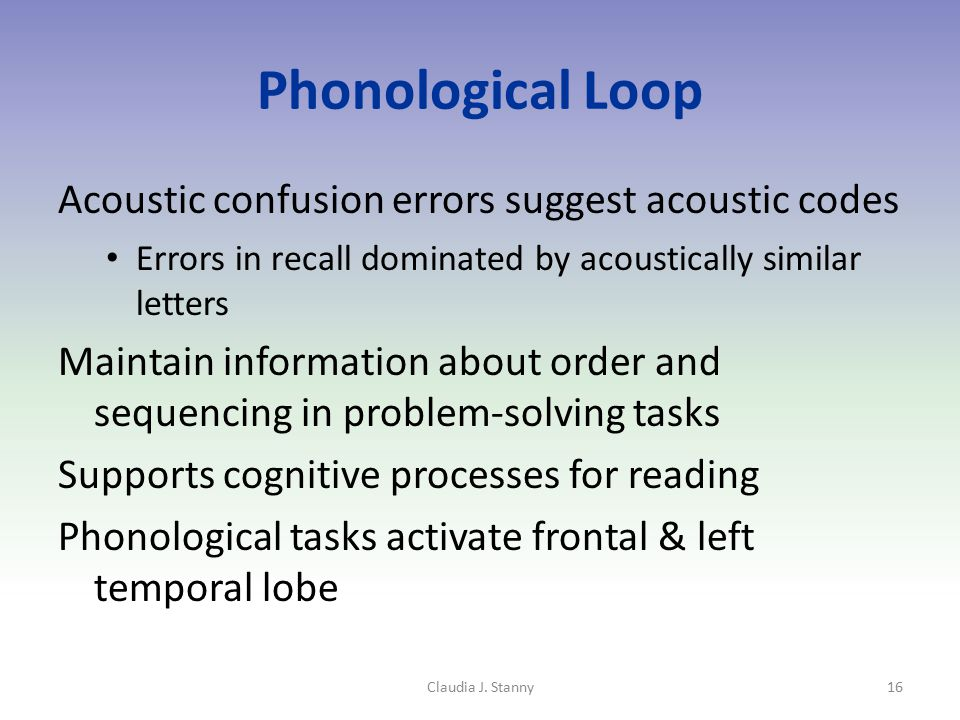 Phonological Loop Acoustic confusion errors suggest acoustic codes Errors in recall dominated by acoustically similar letters Maintain information abo