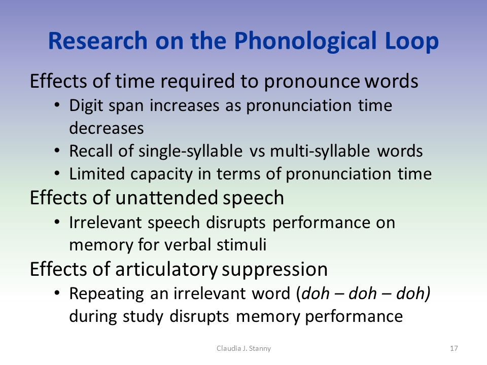 Research on the Phonological Loop Effects of time required to pronounce words Digit span increases as pronunciation time decreases Recall of single-syllable vs multi-syllable words Limited capacity in terms of pronunciation time Effects of unattended speech Irrelevant speech disrupts performance on memory for verbal stimuli Effects of articulatory suppression Repeating an irrelevant word (doh – doh – doh) during study disrupts memory performance Claudia J.