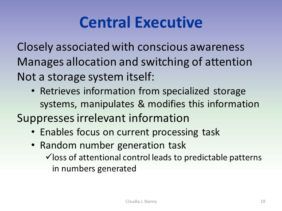 Central Executive Closely associated with conscious awareness Manages allocation and switching of attention Not a storage system itself: Retrieves inf
