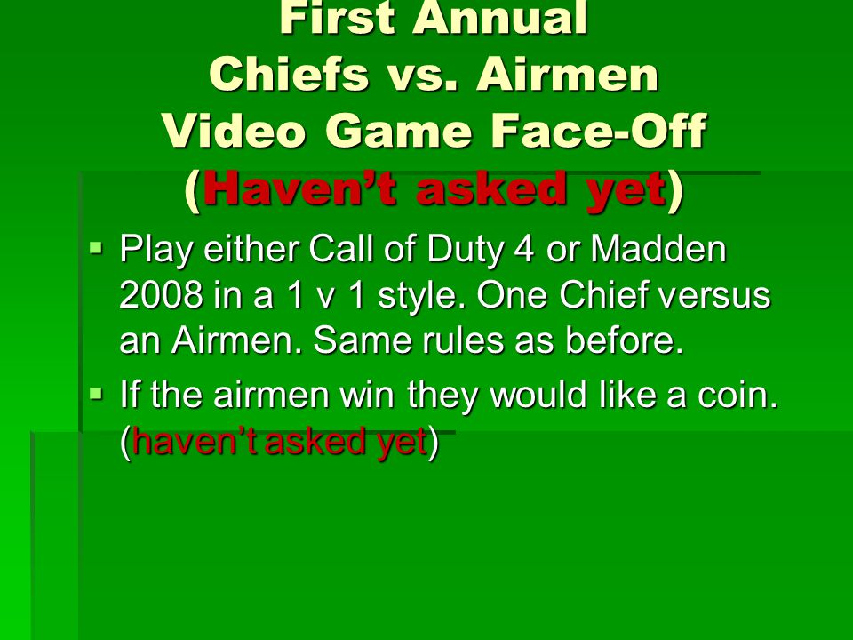 First Annual Chiefs vs.
