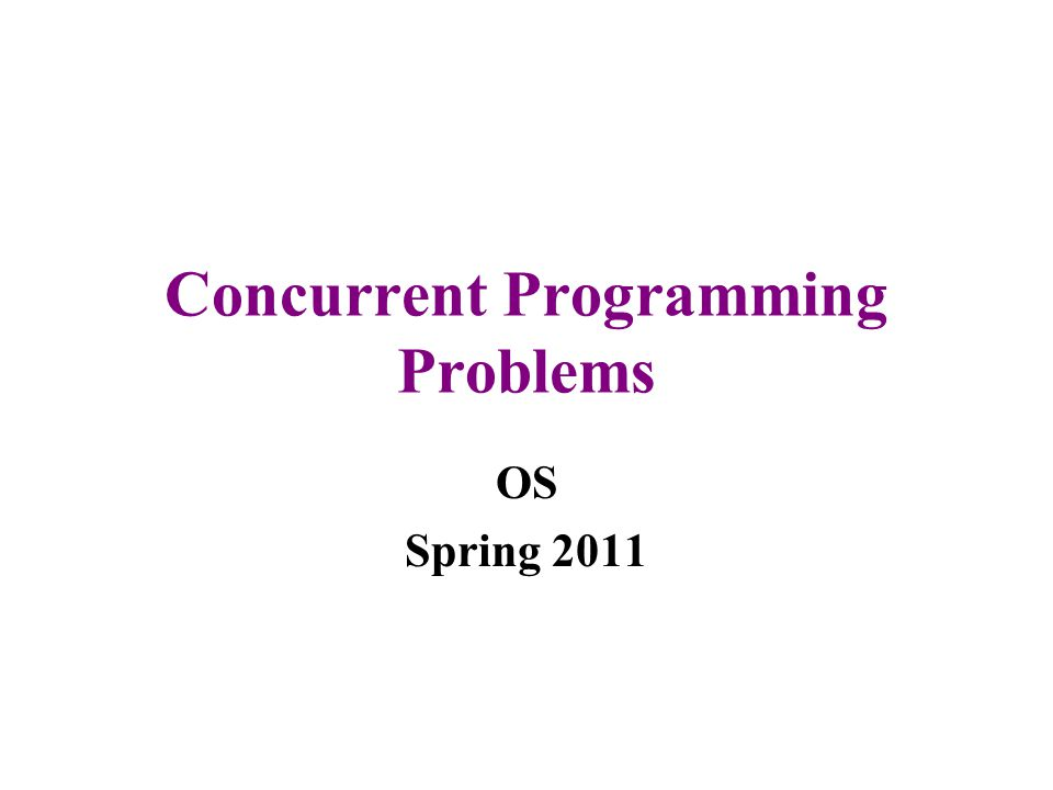Concurrent Programming Problems OS Spring 2011