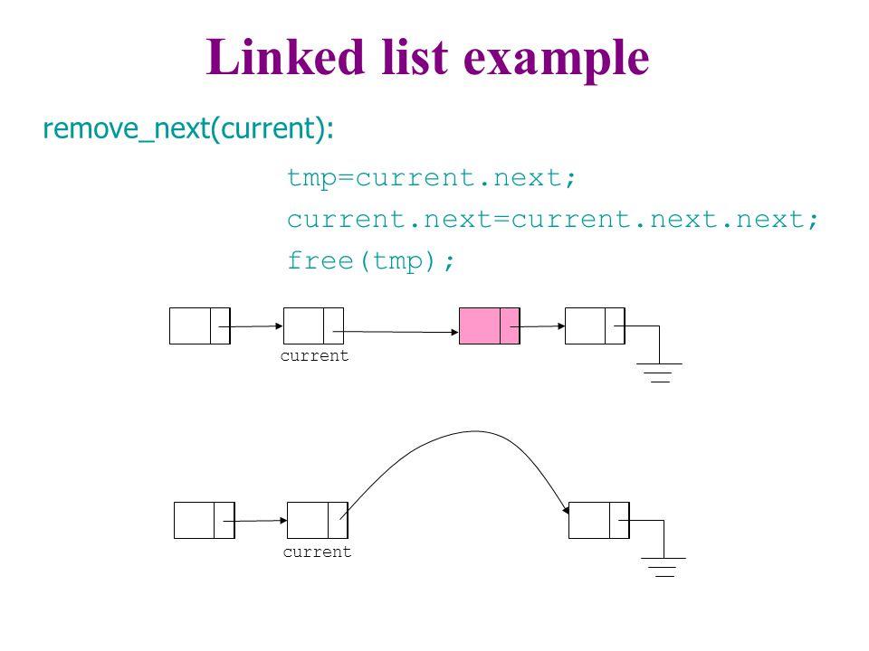 tmp=current.next; current.next=current.next.next; free(tmp); current remove_next(current): Linked list example