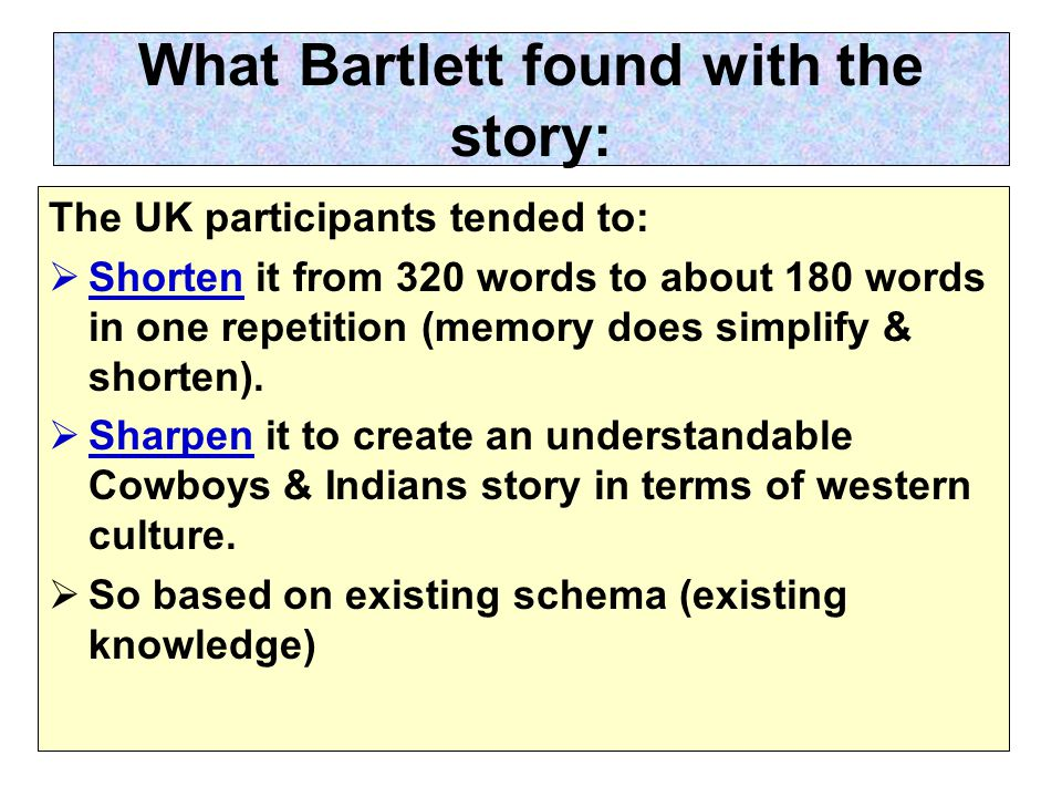 What Bartlett found with the story: The UK participants tended to:  Shorten it from 320 words to about 180 words in one repetition (memory does simplify & shorten).