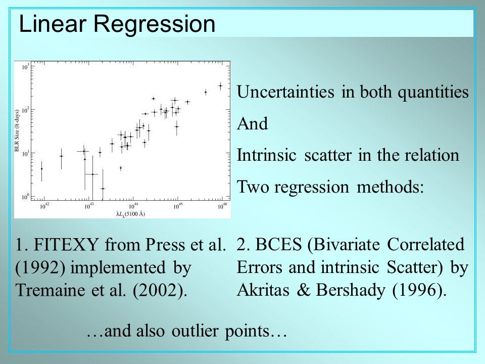 Linear Regression Uncertainties in both quantities And Intrinsic scatter in the relation Two regression methods: 1.