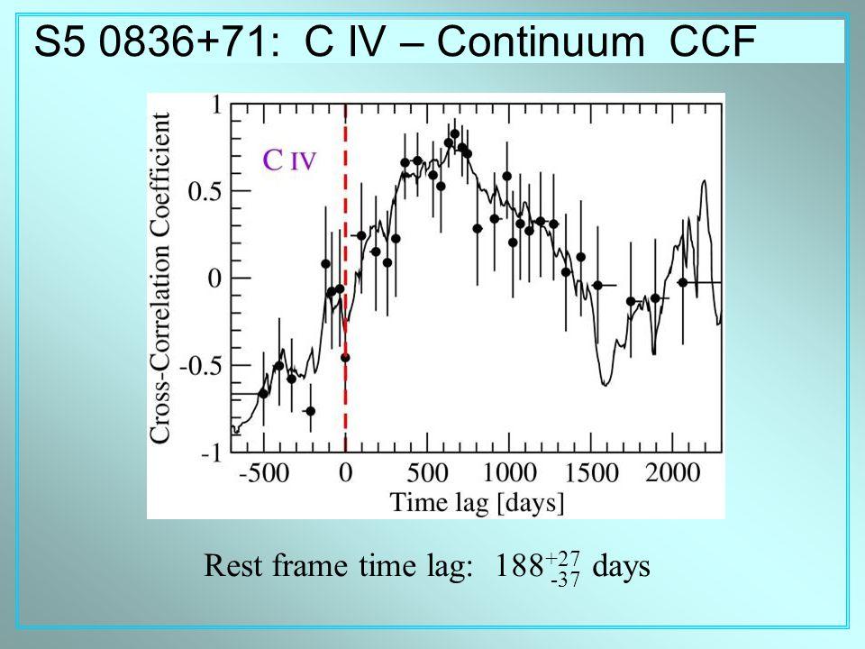 S5 0836+71: C IV – Continuum CCF Rest frame time lag: 188 +27 days -37