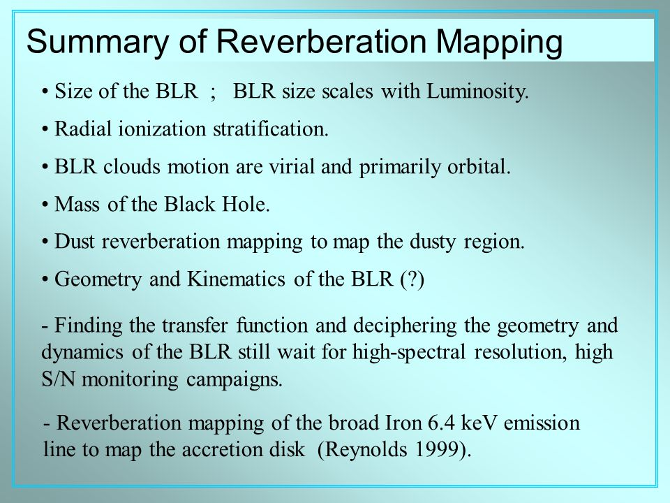 Summary of Reverberation Mapping - Reverberation mapping of the broad Iron 6.4 keV emission line to map the accretion disk (Reynolds 1999).