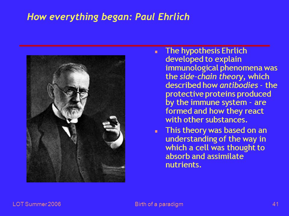 LOT Summer 2006Birth of a paradigm41 How everything began: Paul Ehrlich n The hypothesis Ehrlich developed to explain immunological phenomena was the