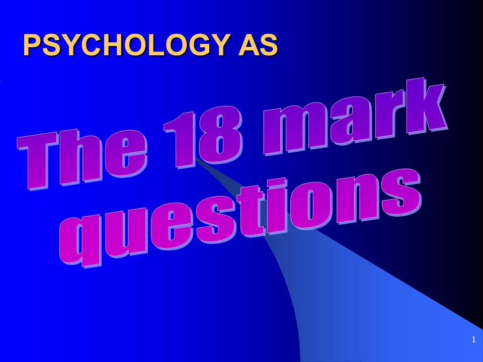 1 PSYCHOLOGY AS