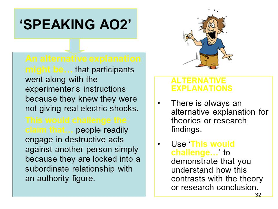 32 'SPEAKING AO2' ALTERNATIVE EXPLANATIONS There is always an alternative explanation for theories or research findings.