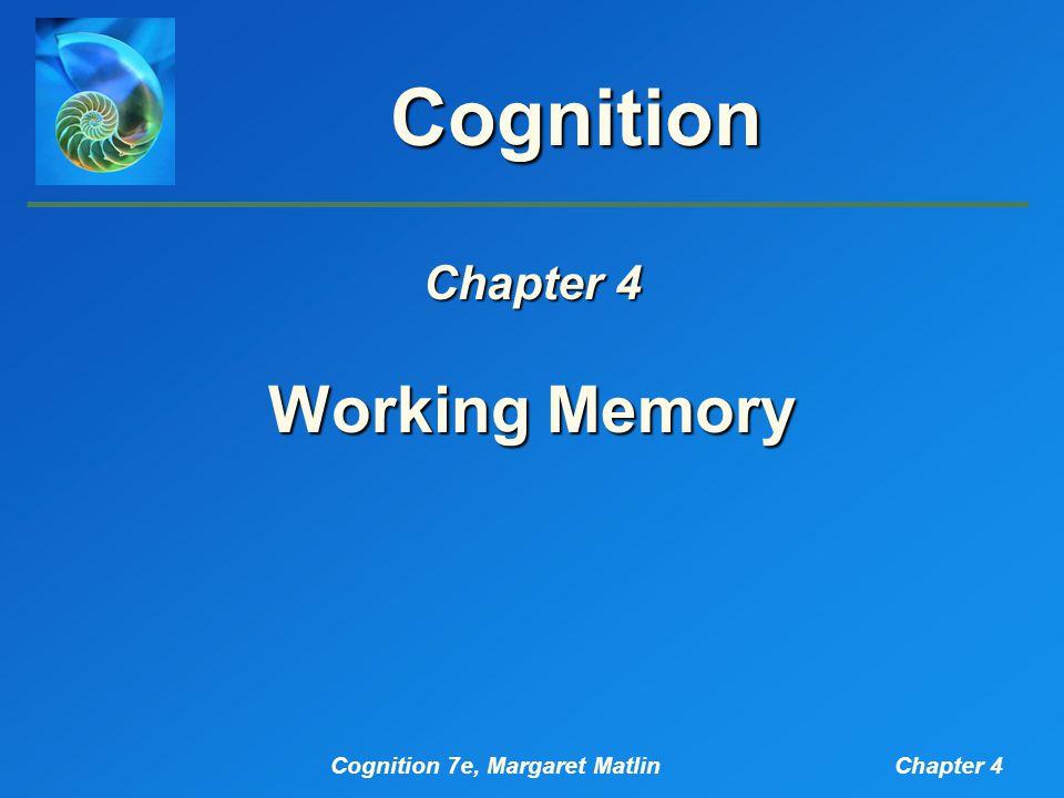 Cognition 7e, Margaret MatlinChapter 4 Introduction working memory short-term memory long-term memory