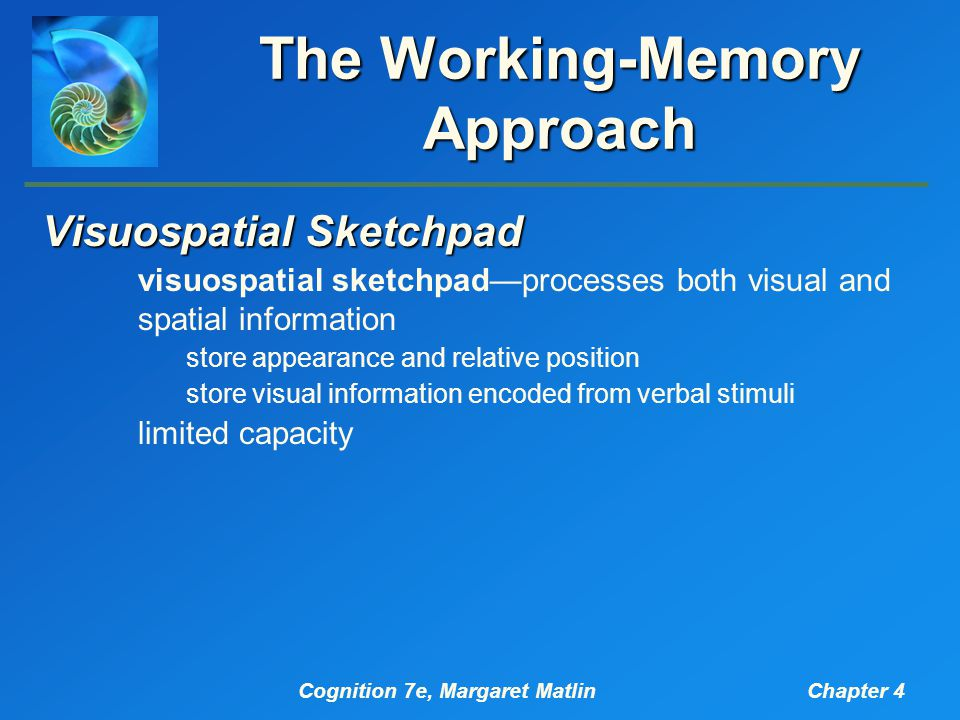 Cognition 7e, Margaret MatlinChapter 4 The Working-Memory Approach Visuospatial Sketchpad visuospatial sketchpad—processes both visual and spatial information store appearance and relative position store visual information encoded from verbal stimuli limited capacity