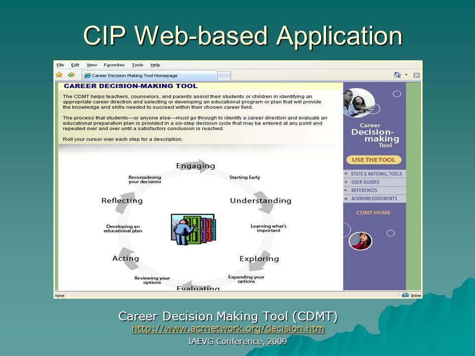 IAEVG Conference, 2009 CIP Research: Dissemination * http://www.career.fsu.edu/techcenter Tech Center established in 1986 Peterson, G., Sampson, J., & Reardon, R.