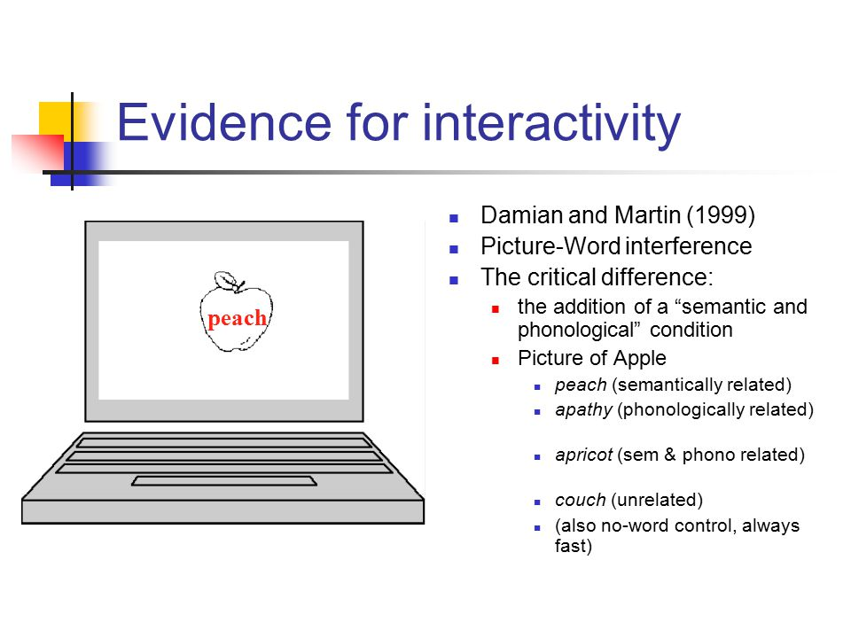 "Damian and Martin (1999) Picture-Word interference The critical difference: the addition of a ""semantic and phonological"" condition Picture of Apple p"