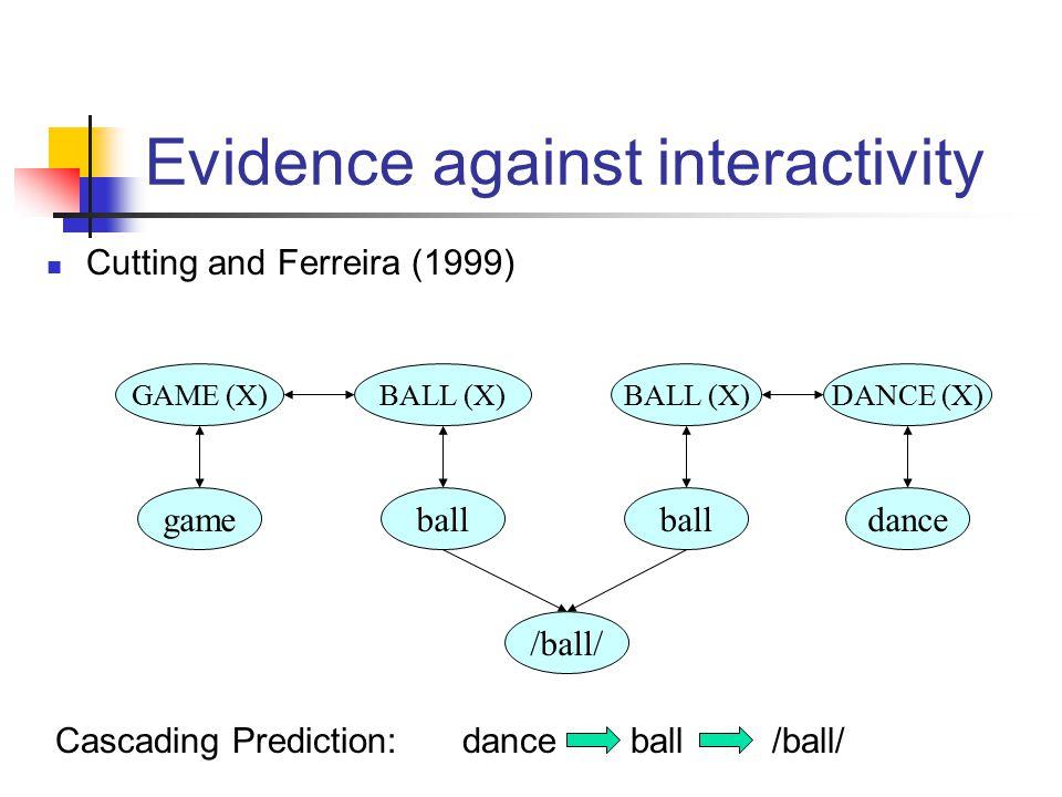 ball BALL (X) ball /ball/ Evidence against interactivity DANCE (X) dance GAME (X) game Cascading Prediction:danceball/ball/ Cutting and Ferreira (1999)