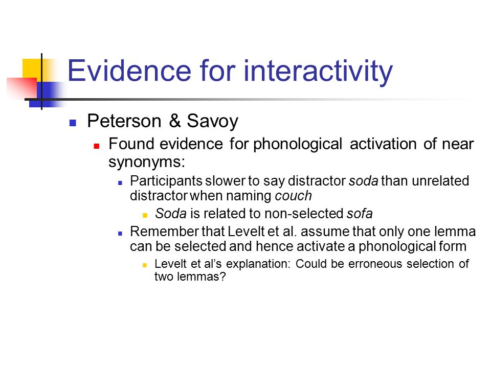Peterson & Savoy Found evidence for phonological activation of near synonyms: Participants slower to say distractor soda than unrelated distractor whe