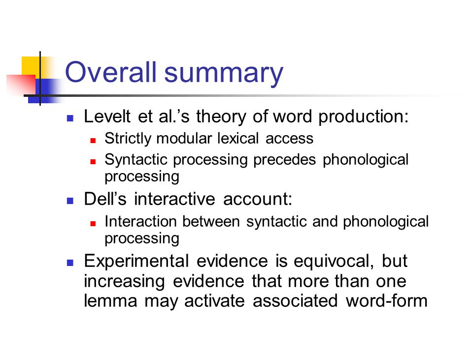 Levelt et al.'s theory of word production: Strictly modular lexical access Syntactic processing precedes phonological processing Dell's interactive ac
