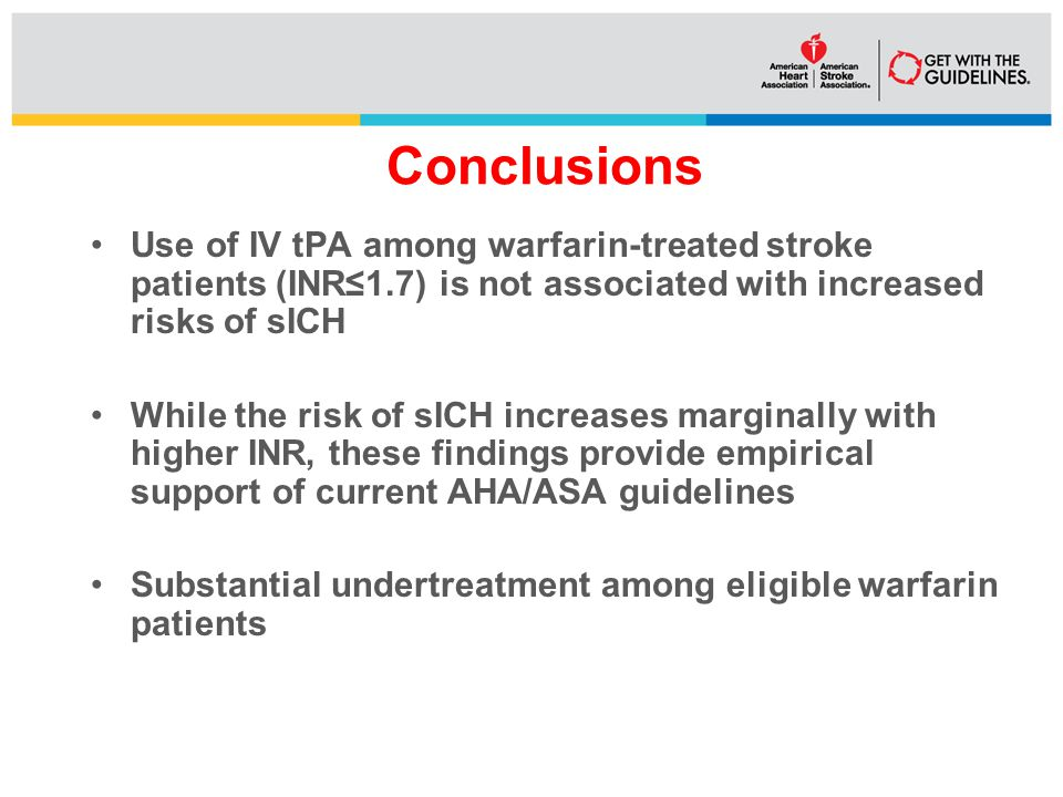 Conclusions Use of IV tPA among warfarin-treated stroke patients (INR≤1.7) is not associated with increased risks of sICH While the risk of sICH increases marginally with higher INR, these findings provide empirical support of current AHA/ASA guidelines Substantial undertreatment among eligible warfarin patients