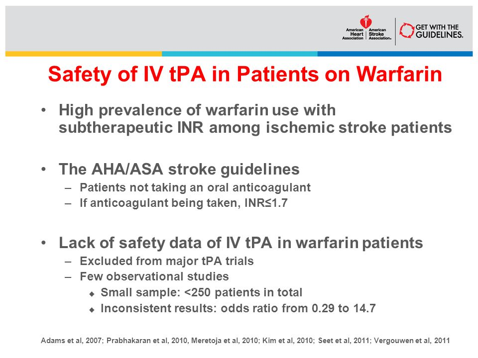 Safety of IV tPA in Patients on Warfarin High prevalence of warfarin use with subtherapeutic INR among ischemic stroke patients The AHA/ASA stroke guidelines –Patients not taking an oral anticoagulant –If anticoagulant being taken, INR≤1.7 Lack of safety data of IV tPA in warfarin patients –Excluded from major tPA trials –Few observational studies  Small sample: <250 patients in total  Inconsistent results: odds ratio from 0.29 to 14.7 Adams et al, 2007; Prabhakaran et al, 2010, Meretoja et al, 2010; Kim et al, 2010; Seet et al, 2011; Vergouwen et al, 2011