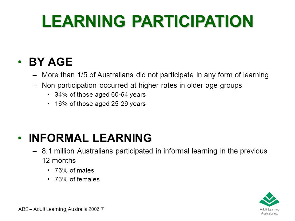 Peter Peterson – May 2008 BY AGE –More than 1/5 of Australians did not participate in any form of learning –Non-participation occurred at higher rates in older age groups 34% of those aged 60-64 years 16% of those aged 25-29 years INFORMAL LEARNING –8.1 million Australians participated in informal learning in the previous 12 months 76% of males 73% of females LEARNING PARTICIPATION ABS – Adult Learning, Australia 2006-7
